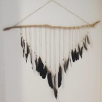 Large Feather Wall Hanging, Driftwood & Feather Wall Hanging,Bohemian Wall Decor