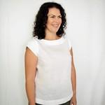 Women's Collar and Cap Sleeve Top in Linen - crop length