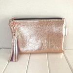 Rose Gold Leather Zipper Pouch, Pink Leather Pouch with Tassel Zipper Pull