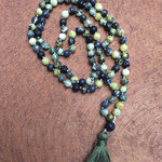 Mala boho meditation necklace  Serpentine Lava Snowflake Obsidian