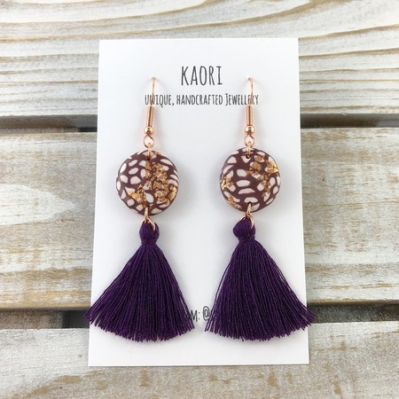 Handcrafted purple polymer clay tassel earrings with rose gold plated hooks