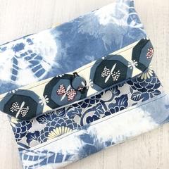 Handcrafted kimono fabric handbag with shoulder strap- indigo shibori & ikat