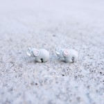 Baby Elephants. Polymer clay stud earrings. Animal jewellery. Special gift