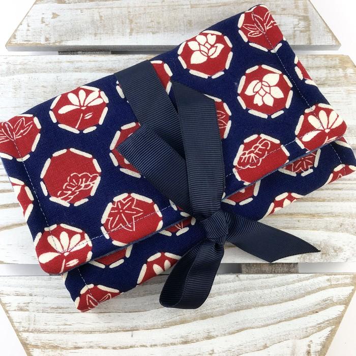 Kimono fabric jewellery travel roll / purse - indigo blue and red ...