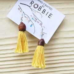 Yellow Gum Nut Tassel Earrings