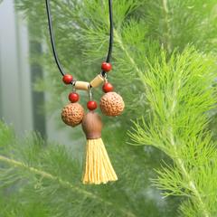 Quandong and  Gum nut tassel adjustable necklace