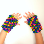 Rainbow Twist dragon scale mitts - crocodile stitch fingerless gloves