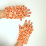 Peachy dragon scale mitts - crocodile stitch fingerless gloves