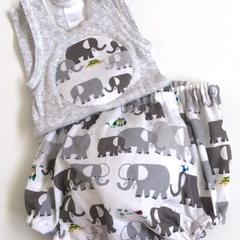 "Sizes New Born, 1 - 3 Months & 6 Months""Elephant Patrol"" Nappy Pants & Singlet"