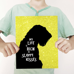 Airedale Silhouette with text on Glitter Background