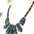 Necklace with Blue SEA SEDIMENT JASPER, Gold Pyrite, Pearls Necklace.