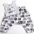 "Sizes New Born to 3 Months & 3 to 6 Mths ""Elephant Patrol""  Pants & Singlet"
