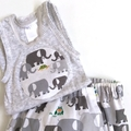 "Sizes New Born, 1 - 3 Months & 6 Months""Elephant Patrol"" Nappy Pants & Singlet"