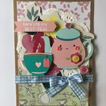 Handmade card - vintage mothers day - birthday - teapot