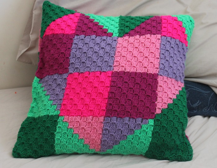 Crochet Pattern Patchwork Heart Cushion Cover Hug Instant