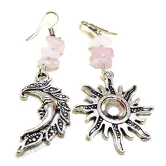 Rose Quartz Sun and Moon Earrings, Mismatched Earrings
