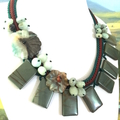 Spring!  Natural PICASSO JASPER and AMAZONITE Flower Hand-crochet Necklace.