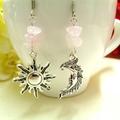 Rose Quartz Sun and Moon Earrings, Mismatched Earrings