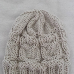Owl Beanie, taupe, pure wool, hand knitted. Child age approx 6-12mths