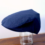 Boys Driving Cap Vintage Hat. Navy linen - in your choice of size