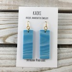 Handcrafted blue and white waves polymer clay earrings with gold plated hooks
