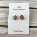 Handcrafted polymer clay stud earrings in pink, white and green with gold leaf