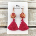 Handcrafted pink polymer clay tassel earrings with rose gold plated hooks