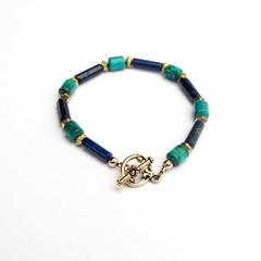 Turquoise Lapis Lazuli and Gold Gem Bracelet