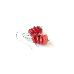 Red Coral Stack and Sterling Silver Earrings