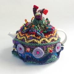 4-6 cup embellished tea cosy.