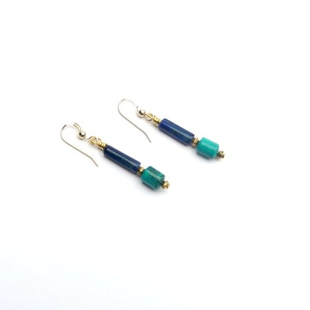 Lapis Lazuli Turquoise and Gold Drop Gemstone Earrings