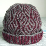 Woman's Cloche, Beanie, Hat, Pure Wool, Burgundy & Grey, Reversible