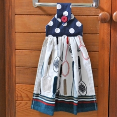 Fabric topped navy, red and white hanging hand towel