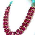 Genuine Red Agate, Turquoise, Aventurine 2 Strands Necklace.