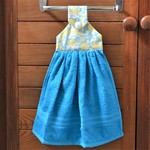 Fabric topped turquoise and yellow hanging hand towel