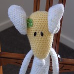 Mindy the ballerina mouse in yellow and white fleck: OOAK, washable, baby