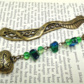 Bronze Dragon Beaded Bookmark with Heart