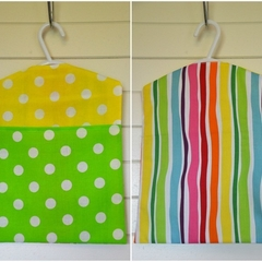 Fabric Peg Bag - Lemon & Lime Spots with Rainbow Stripes