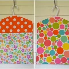 Fabric Peg Bag - Orange Spots & Flowers