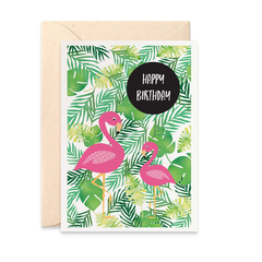 Female Birthday Card, Tropical Leaves with Flamingo Card, HBF176