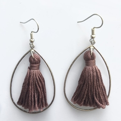 Silver teardrops with mauve-taupe tassels