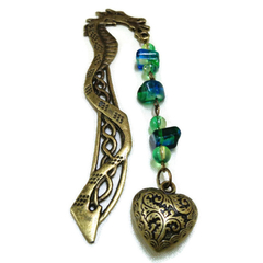 Bronze Dragon Beaded Bookmark with Heart