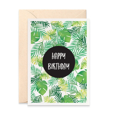 Female Birthday Card, Tropical Palm Leaves, HBF177