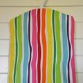 Fabric Peg Bag - Lemon & Lime Spots with Rainbow Stripes