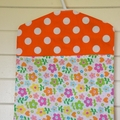 Fabric Peg Bag - Orange Spots & Flowers