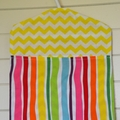 Fabric Peg Bag - Pink & Yellow Chevrons with Rainbow Stripes