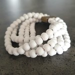 Women's Wooden Beaded Bracelet - white FREE POSTAGE