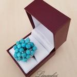 Ring - Cluster - Turquoise - Blue - Howlite - Gemstone - Adjustable - R068