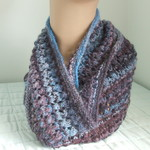 Pure Wool Infinity Loop Scarf, Blue Burgundy Lacy Gift for Her