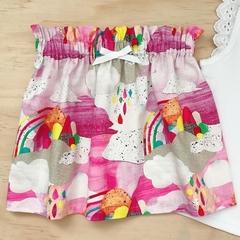 Size 5 -  High Waist Skirt - Rainbow - Cotton - Pink - Bright